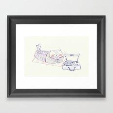 vinyl cat Framed Art Print