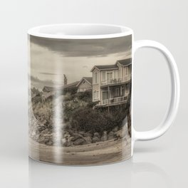 Homes Atop Cliffs At Gleneden Toned Coffee Mug