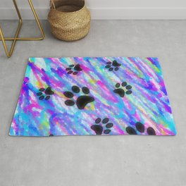 Bold Abstract Doodles with Paw Prints Rug