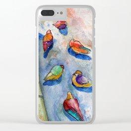 Paris pigeons Clear iPhone Case