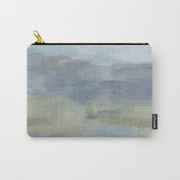 Sky Gray Blue Sage Green Abstract Wall Art, Painting Art, Lake Nature Painting Print, Modern Carry-All Pouch