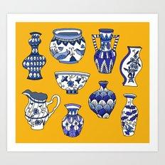 blue and white pots Art Print