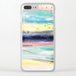 Summer watercolor abstract art design Clear iPhone Case