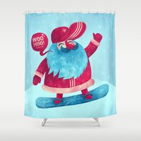snowboard Shower Curtains featuring Snowboard Santa by Lime