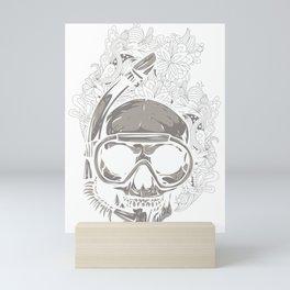 Scuba Diver Skull Mini Art Print