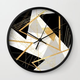Black and Gold Geometric Wall Clock