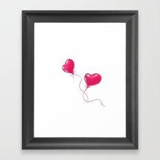 Heart shaped red balloons Framed Art Print