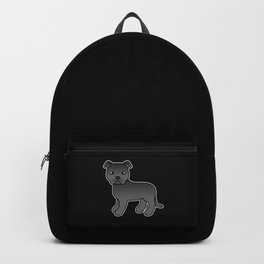 Black English Staffordshire Bull Terrier Cartoon Dog Backpack