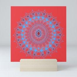 Summer Mandala Blue and Pink Rose Mini Art Print
