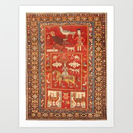 Kuba Hunting Rug With Birds Horses Camels Print Art Print