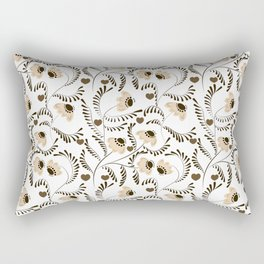 retro, floral pattern, beige flowers, abstract flowers Rectangular Pillow