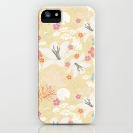 Yellow Japanese pond florals iPhone Case