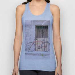 Red Bike/Yellow Door Unisex Tank Top