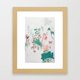 Abstract Jungle Floral on Pink and White Framed Art Print