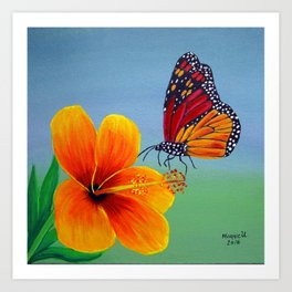 Lily with Butterfly Art Print