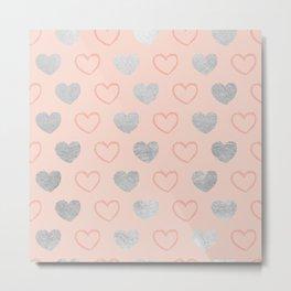 Elegant hand painted romantic coral pink silver foil hearts Metal Print