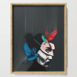 Surreal portrait girl with mask and tropical birds  Serving Tray