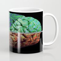 brain Mugs featuring Brain by Brandon Czekay