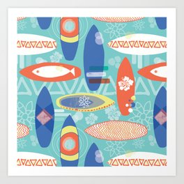 Vintage Surfboards Pattern Art Print