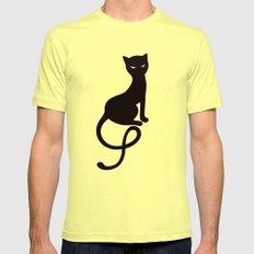 Gracious Evil Black Cat Mens Fitted Tee Lemon MEDIUM