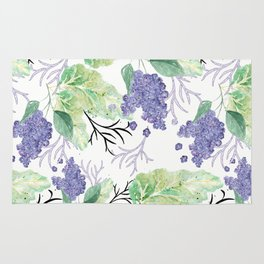 Lilac flowers on a white background. Rug