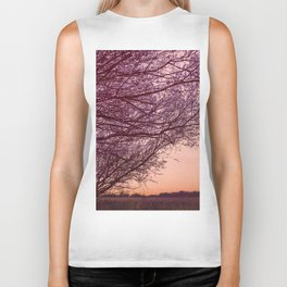 Purple Tree, Coral Orange Sky Biker Tank