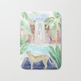 Cheetah Cat in Morocco Bath Mat