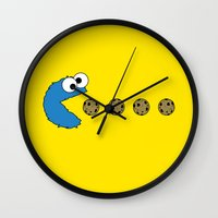 cookie monster Wall Clocks featuring Cookie monster Pacman by dutyfreak