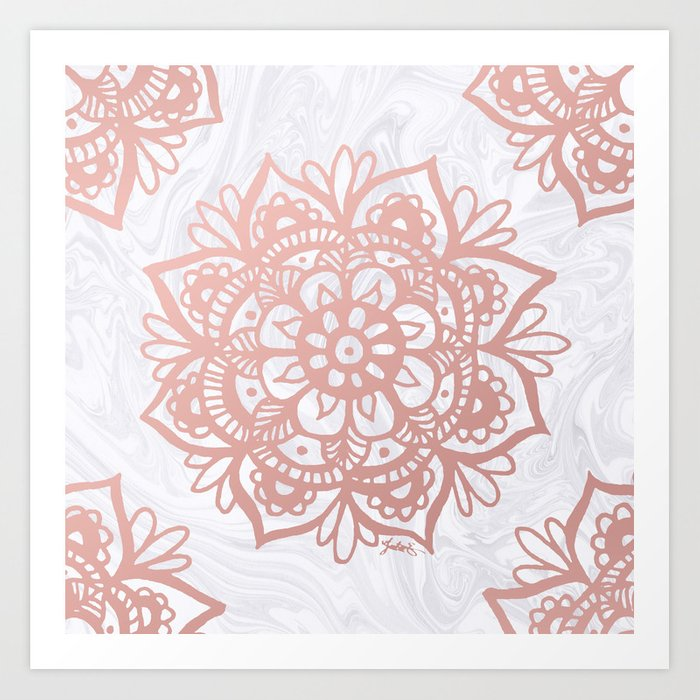 Rose Gold Mandalas on Marble Art Print