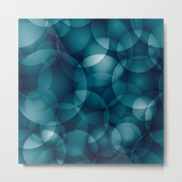 Dark intersecting heavenly translucent circles in bright colors with the blue glow of the ocean. Metal Print