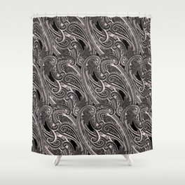 paisley wave in black and white Shower Curtain