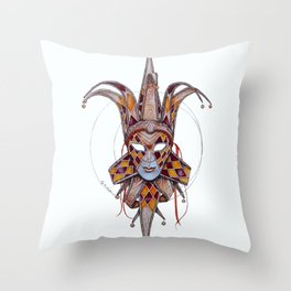 Male Venetian Jester Mask | Watercolor and Colored Pencil  Throw Pillow
