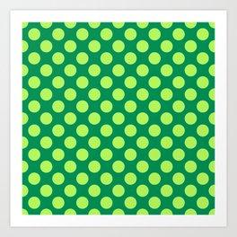 Apple Green Polka Dots Art Print