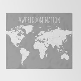 #WorldDomination World Map in Grey for Sales or Travel Throw Blanket