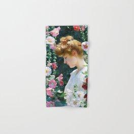 12,000pixel-500dpi - Charles Courtney Curran - Hollyhocks And Sunlight - Digital Remastered Edition Hand & Bath Towel