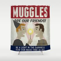 propaganda Shower Curtains featuring Muggles Are Our Friends (HP Propaganda Series) by Kate Moore