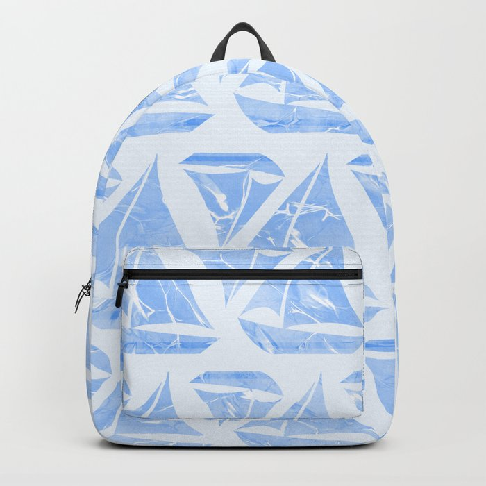 Blue Sailing Boats Water Pattern Backpack
