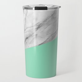Carrara Marble and Sea Color Travel Mug
