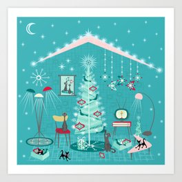 Retro Holiday Decorating Art Print
