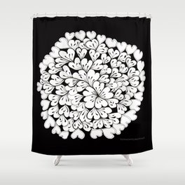 Hearts and Flowers Zentangle black and white illustration Shower Curtain