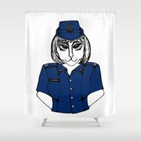 police Shower Curtains featuring Police Kitty by Sofy Rahman