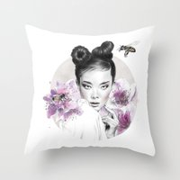 arya Throw Pillows featuring Arya by Nevertheless