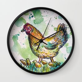 Momma & Chicks Wall Clock