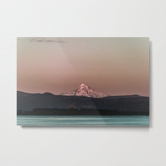 Pastel Peak - Mt. Hood over the Columbia Metal Print