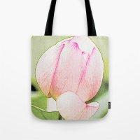 lotus flower Tote Bags featuring Lotus by Karl-Heinz Lüpke