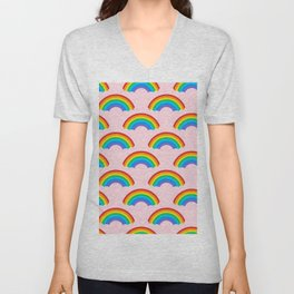 80s RAINBOW PATTERN WITH PASTEL PINK BACKGROUND Unisex V-Neck