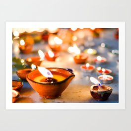 Diwali oil lamps Art Print