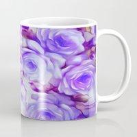 shabby chic Mugs featuring Shabby Chic Purple by Jacqueline Maldonado