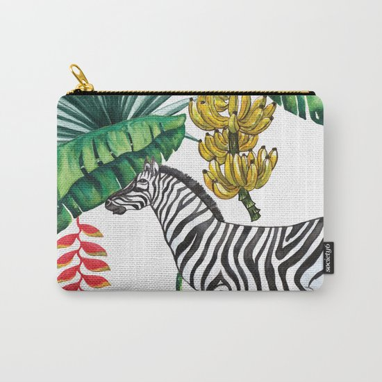 watercolor banana leaves with zebra Carry-All Pouch