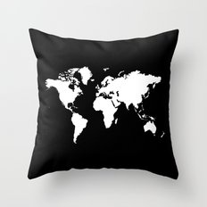 Black white world map Throw Pillow